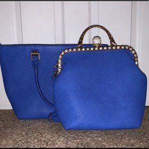 Blue Rhinestone 2 in 1 Fashion Purse